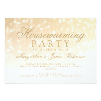 Housewarming Party Gold Sparkle Lights Card