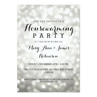 Housewarming Party Silver Glitter Lights Card