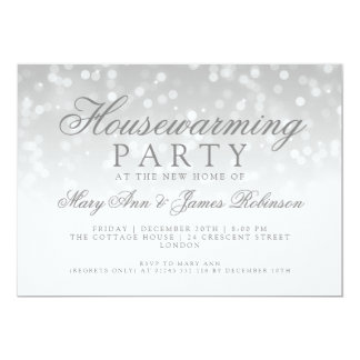 Housewarming Party Silver Sparkle Lights Card