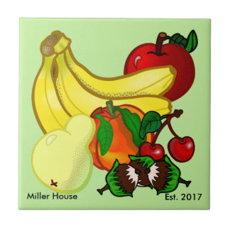 Housewarming Tile  Personalize Gift Kitchen Fruit
