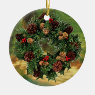 Housewarming Wreath on Stained Glass Ceramic Ornament