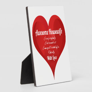 Housewife Pride Typography Heart Love Quote Plaque