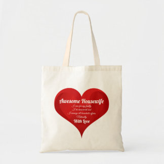 Housewife Pride Typography Heart Love Quote Tote Bag