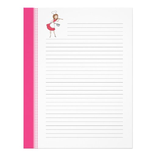 Housewife Retro Art Lined Recipe Pages Letterhead Design