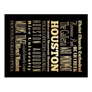 Houston City of Texas State Typography Art Postcard