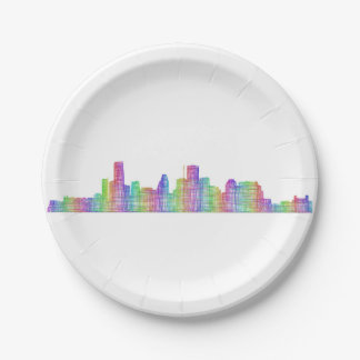 Houston city skyline 7 inch paper plate
