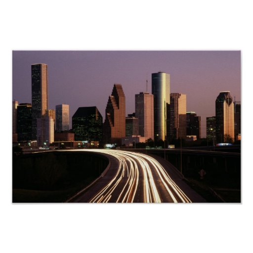 Houston City Skyline at Dusk Poster from 14.95