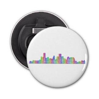 Houston city skyline button bottle opener