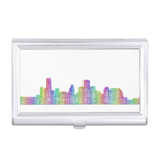 Houston city skyline case for business cards