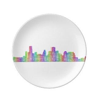 Houston city skyline plate