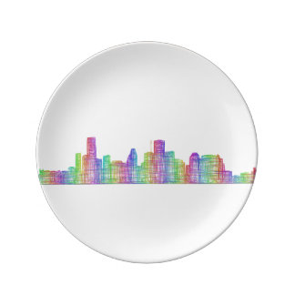 Houston city skyline porcelain plates
