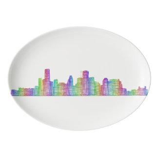 Houston city skyline porcelain serving platter