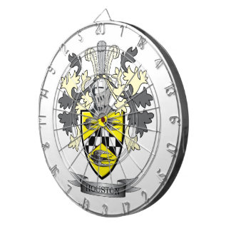 Houston Family Crest Coat of Arms Dartboard With Darts