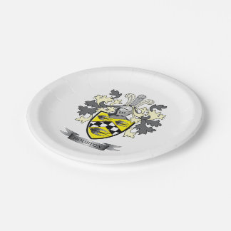 Houston Family Crest Coat of Arms Paper Plate