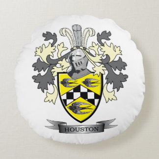Houston Family Crest Coat of Arms Round Pillow