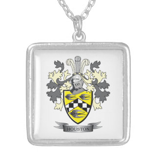 Houston Family Crest Coat of Arms Silver Plated Necklace