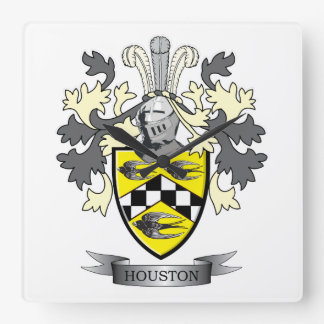 Houston Family Crest Coat of Arms Square Wall Clock