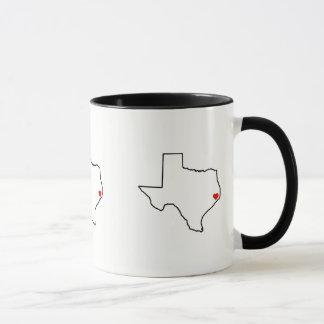 Houston Harvey Relief Texas Outline Red Heart Mug