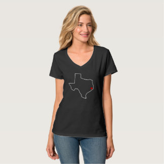 Houston Harvey Relief Texas Outline Red Heart T-Shirt