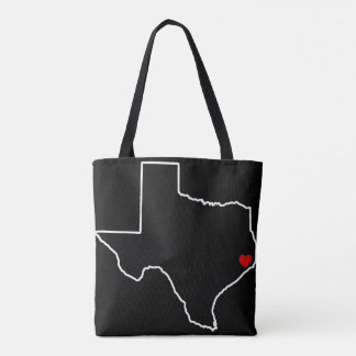 Houston Harvey Relief Texas Outline Red Heart Tote Bag