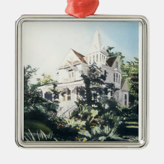 Houston Heights Watercolor, 1896 Harvard Street 2 Metal Ornament