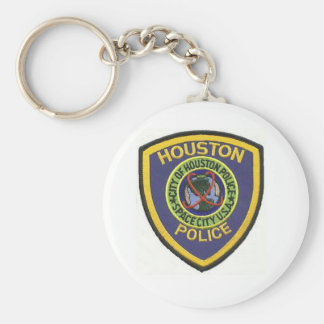HOUSTON POLICE BASIC ROUND BUTTON KEYCHAIN