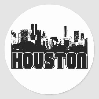 Houston Skyline Classic Round Sticker
