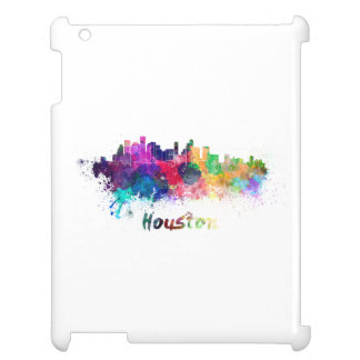Houston skyline in watercolor iPad covers