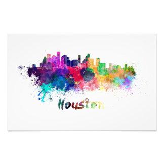 Houston skyline in watercolor photo print