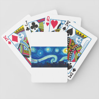 Houston Skyline Silhouette with Starry Night Bicycle Playing Cards