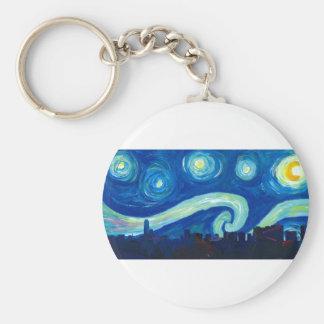 Houston Skyline Silhouette with Starry Night Keychain
