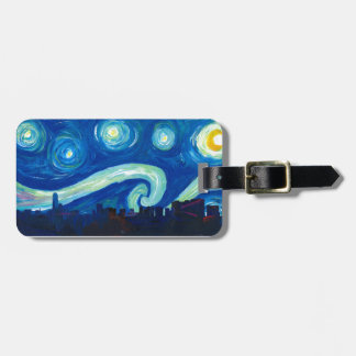 Houston Skyline Silhouette with Starry Night Luggage Tag