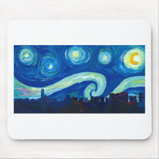 Houston Skyline Silhouette with Starry Night Mouse Pad