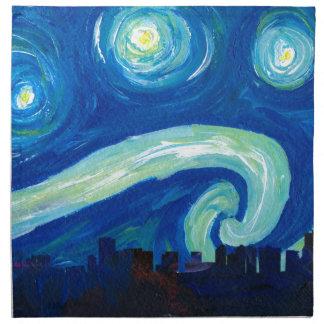 Houston Skyline Silhouette with Starry Night Napkin