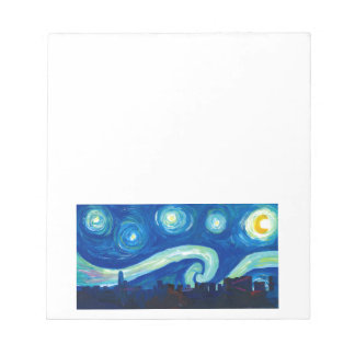 Houston Skyline Silhouette with Starry Night Notepad