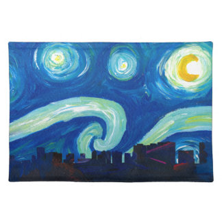 Houston Skyline Silhouette with Starry Night Placemat