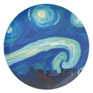 Houston Skyline Silhouette with Starry Night Plate
