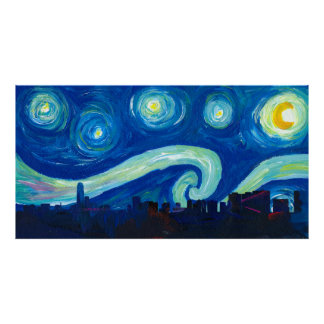 Houston Skyline Silhouette with Starry Night Poster