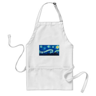 Houston Skyline Silhouette with Starry Night Standard Apron