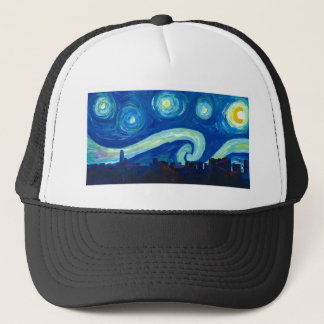 Houston Skyline Silhouette with Starry Night Trucker Hat