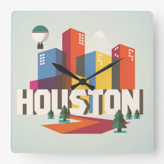 Houston, Texas | Cityscape Design Square Wall Clock