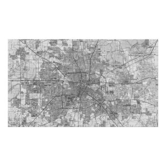 Houston Texas Map (1992) BW Poster