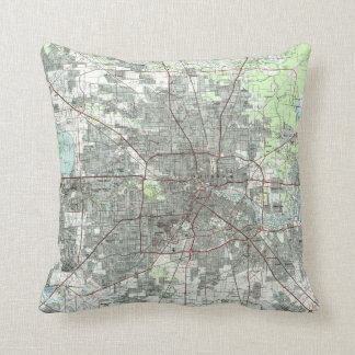 Houston Texas Map (1992) Throw Pillow
