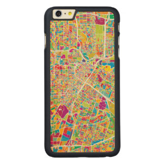 Houston, Texas | Neon Map Carved Maple iPhone 6 Plus Case