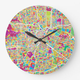 Houston, Texas | Neon Map Large Clock