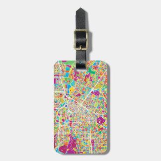 Houston, Texas   Neon Map Luggage Tag