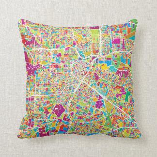 Houston, Texas | Neon Map Throw Pillow