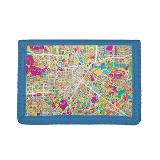 Houston, Texas | Neon Map Tri-fold Wallets