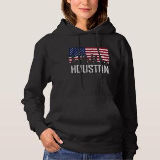Houston Texas Skyline American Flag Distressed Hoodie