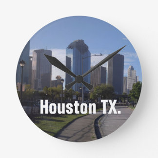 Houston Texas Skyline (Panoramic) Round Clock